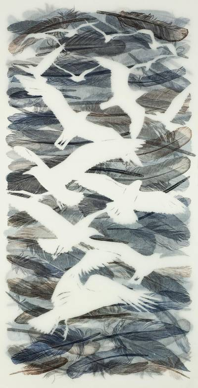 Gulls-Wheel-and-Soar,-Light-against-the-Darker-Grey-Cloud